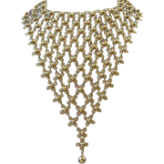 Amazing Bib Necklace of Gold Tone Filigree Flowers ~ REDUCED!!