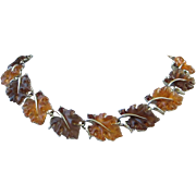 Iconic Lisner Rootbeer and Topaz Lucite Maple Leaf Necklace