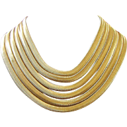 Luxurious Multi Strand Gold Tone Snake Chain Necklace ~ REDUCED!
