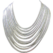 West Germany Multi Strand Silver Tone Chains Draping Necklace ~ REDUCED!