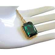 Vintage Emerald Green Rhinestone Necklace