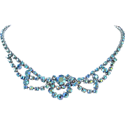 Blue Green Aurora Borealis Rhinestone Necklace