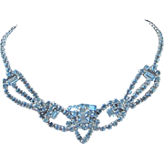 Romantic Light Blue Rhinestone Necklace