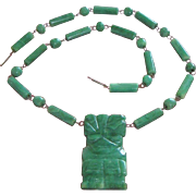 Vintage Carved Malachite Warrior and Bead Necklace