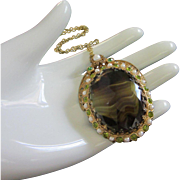 West Germany Dark Green and Topaz Art Glass, Peridot and Faux Pearl Pendant Necklace ~ REDUCED!