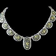 Vintage Damascene Necklace with Bird and Flower Motif