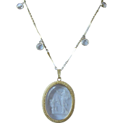 Unsigned Goldette Intaglio Cupid and Venus Pendant Necklace  ~ REDUCED!