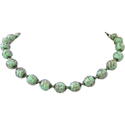 Italian Murano Glass Spring Green Gold Fluss Single Strand Necklace