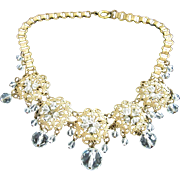 Vintage Brass Filigree and Clear Crystals Necklace ~ REDUCED!
