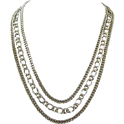 Vintage Trifari Triple Strand Gold Tone Necklace