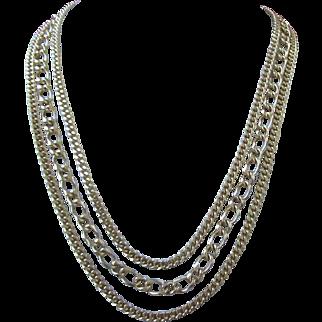 Vintage Trifari Triple Strand Gold Tone Necklace