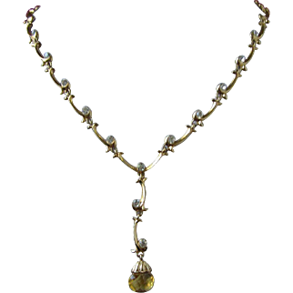 Delicate Topaz Crystal Dangle with Clear Rhinestones Necklace