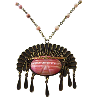 Impressive Carved Pink Agate and Copper Mexican Warrior Pendant Necklace