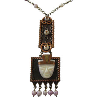Vintage Mexico Carved Lavender Agate and Copper Warrior Pendant Necklace
