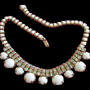 Gorgeous Vintage Milk Glass and AB Rhinestone Choker Necklace