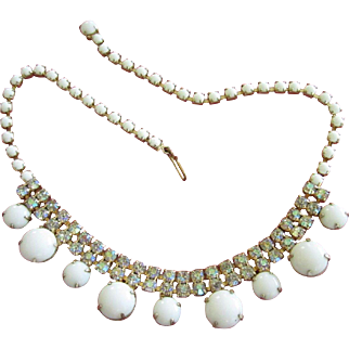 Gorgeous Vintage Milk Glass and AB Rhinestone Choker Necklace