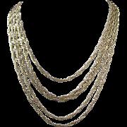 Vintage Gold Tone 5 Strand Necklace, Signed