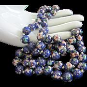 Vintage Blue Cloisonne Beads Necklace
