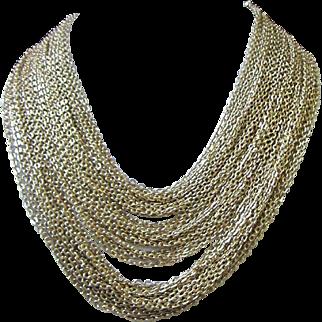 Vintage Multi Strand Gold Tone Necklace