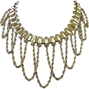 Fabulous Gold Tone Book Link Choker Necklace with Draping Chains