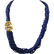 Twenty Four Strand Royal Blue Torsade Necklace with Decorative Clasp