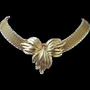 Vintage Gold Tone Mesh Necklace, Choker