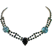 Vintage Emerald Rhinestone and Molded Glass Florettes Choker Necklace