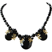 Vintage Western Germany Black Crystals and Rhinestones Choker Necklace