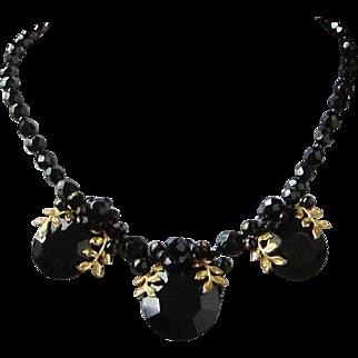 Vintage Western Germany Black Crystals and Rhinestones Choker Necklace