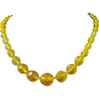 Vintage Yellow-Gold Citrine Crystals Necklace