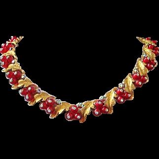 Vintage BSK Festive Berries, Leaves and Rhinestone Necklace