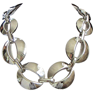 Chunky Vintage Silver Tone Necklace