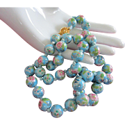 Vintage Sky Blue, Pink Flowers Cloisonne Bead Necklace