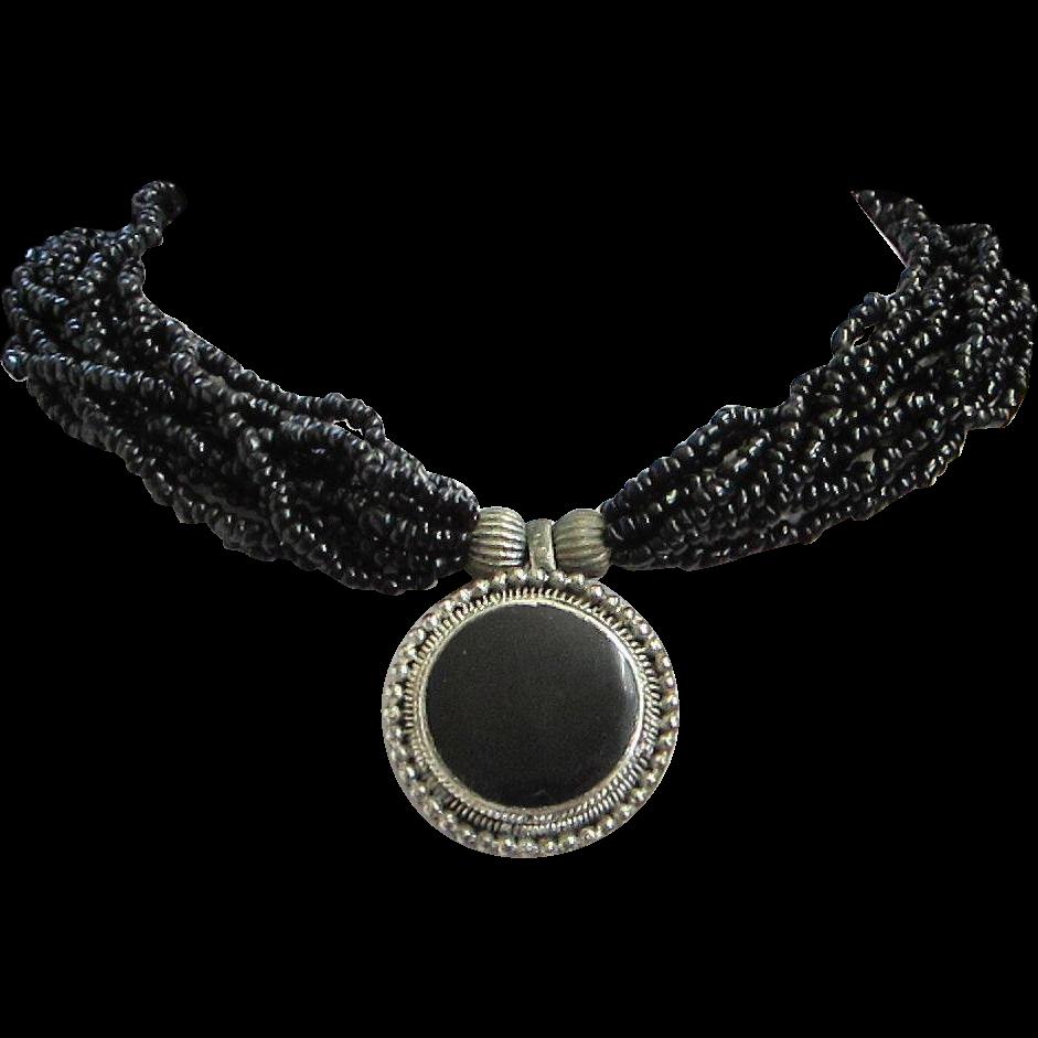 Torsade Necklace: Vintage Black Seed Bead Torsade Necklace With Silver Tone