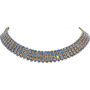 Vintage Capri Blue Rhinestone Choker Necklace