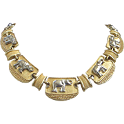 Vintage Mixed Metal Gold and Silver Tone Elephants Necklace