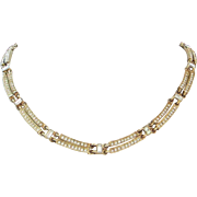 Napier Clear Rhinestone and Gold Tone Necklace
