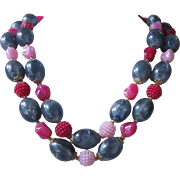 West Germany 2 Strands Raspberry, Rose and Pewter Beaded Necklace
