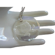 Clear Glass Intaglio Owl Necklace Pendant