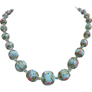 Soft Blue Italian Wedding Cake Venetian Glass Bead Necklace ~ REDUCED!