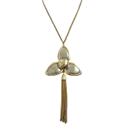 Gold and Silver Tone Flower Pendant Necklace with Tassel