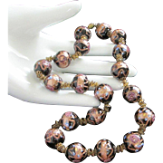 Vintage Italian Murano Glass Wedding Cake Beads Necklace