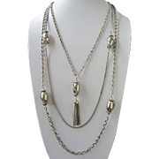 Celebrity Silver Tone Multi Chain Necklace