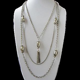 Celebrity Silver Tone Multi Chain Necklace