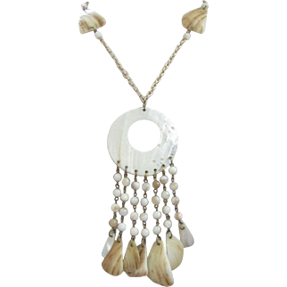 Creamy White and Brown Mother of Pearl Dangling Necklace ~ REDUCED!