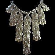 Dangling Silver Tone Teardrops Necklace