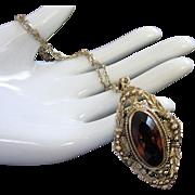 Whiting and Davis Topaz Rhinestone Necklace Pendant