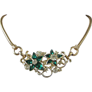 Emerald Green Rhinestone Flowers Vintage Necklace