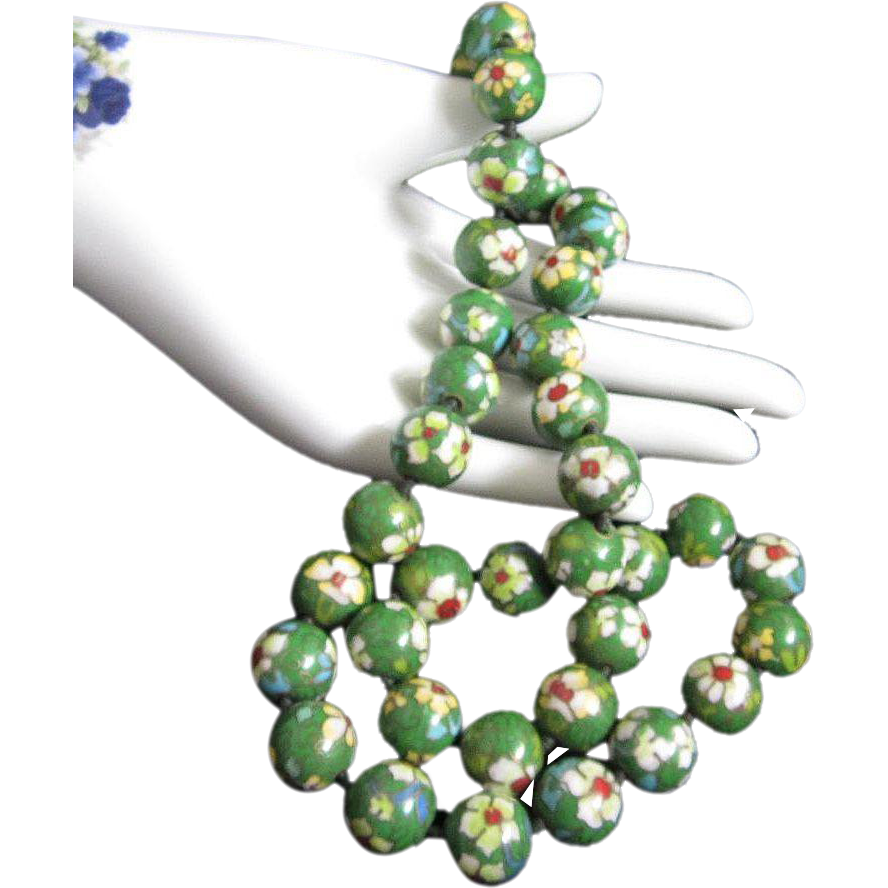 Chinese Cloisonne Enamel Bead Vintage Necklace