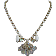 Milk Glass and AB Crystal Cascade Vintage Necklace Choker